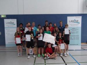 Alle Teilnehmerinnen und Teilnehmer mit Scheck